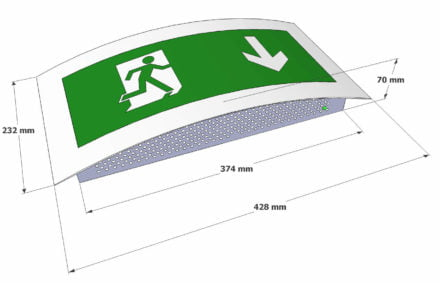 Curved LED exit sign dimensions