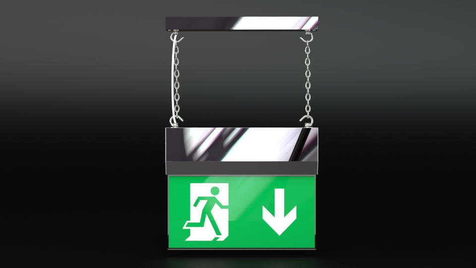 Chrome hanging exit sign