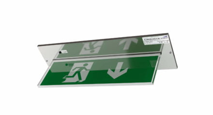 Recessed exit sign in chrome