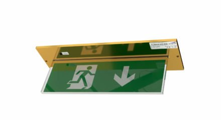 Recessed exit sign in brass