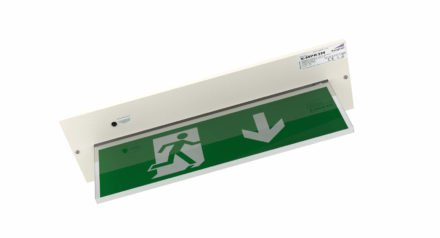 Recessed exit sign in white